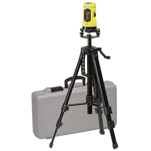 Self-leveling laser level with tripod in case